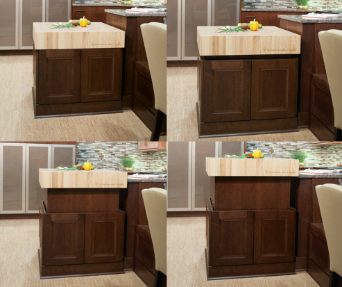 This butcher block countertop allows accessible heights with the push of a button! How cool of an island would that be? Perfect heights for chopping, serving, and everything in between!